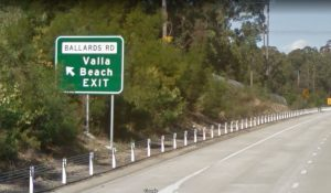 Heading SOUTH, take the Ballards Rd, Valla Beach exit
